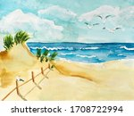 Handmade Watercolor Drawing Of...
