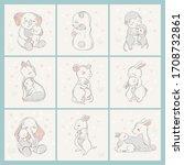 animal set family character.... | Shutterstock .eps vector #1708732861