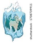 huge iceberg with frozen planet ...   Shutterstock .eps vector #1708739911