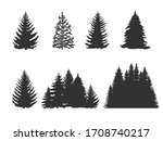 set of trees silhouettes ... | Shutterstock .eps vector #1708740217