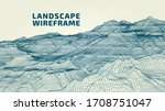 abstract wireframe landscape...   Shutterstock .eps vector #1708751047