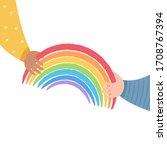 one kid passes rainbow to... | Shutterstock .eps vector #1708767394
