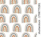 rainbow hand drawn doodles... | Shutterstock .eps vector #1708775281