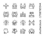 social distancing outline icon... | Shutterstock .eps vector #1708785544