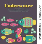 underwater card design. vector... | Shutterstock .eps vector #170880644