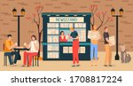 Business news media with people at newsstand reading morning newspapers information press reports flat vector illustration. Newsletter and information. Business and market news. Financial report.