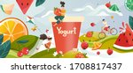 yogurt with summer fruits drink ... | Shutterstock .eps vector #1708817437
