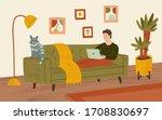 freelancer working on a laptop... | Shutterstock .eps vector #1708830697