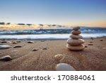 Stones Balance On Beach ...
