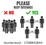 """please keep distance"" poster...   Shutterstock .eps vector #1708842844"