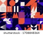 geometric distress aesthetics... | Shutterstock .eps vector #1708848364