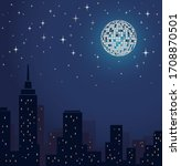 disco ball vector lltustration. ... | Shutterstock .eps vector #1708870501