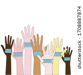 hands of different people and... | Shutterstock . vector #1708887874