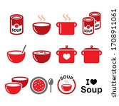 soup in bowl  can and pot  ... | Shutterstock .eps vector #1708911061