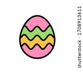egg easter outline color icon....