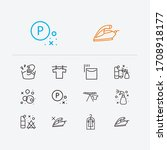 clothes icons set. hand wash...