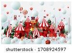 christmas winter wonderland... | Shutterstock .eps vector #1708924597