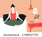 woman doing yoga and meditation ... | Shutterstock .eps vector #1708937707