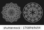 boho white floral mandala line... | Shutterstock .eps vector #1708969654