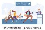 passengers running to flight... | Shutterstock .eps vector #1708978981