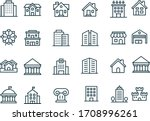 Building Line Icons Vector...