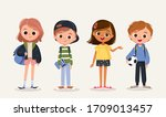 set of school kids with school... | Shutterstock .eps vector #1709013457