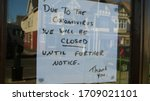 Small photo of Independent shop closed until further notice in window due to the COVID 19 coronavirus pandemic, bars, cafes, restaurants, clubs all shut cause of this international crisis