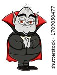 cartoon fat and old vampire... | Shutterstock .eps vector #1709050477