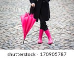 Woman With Pink Umbrella And...