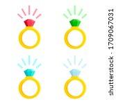set of golden rings with... | Shutterstock .eps vector #1709067031