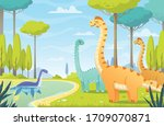 dinosaurs composition with... | Shutterstock .eps vector #1709070871