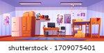 hostel room  student bedroom in ... | Shutterstock .eps vector #1709075401