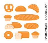 different types of bread.... | Shutterstock .eps vector #1709082454