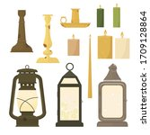 Collection of candles in candlesticks and old vintage oil lampson a white background. Cartoon style. Vector illustration.