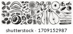 dried fruits and nuts... | Shutterstock .eps vector #1709152987