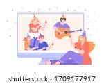 online internet party. birthday ... | Shutterstock .eps vector #1709177917