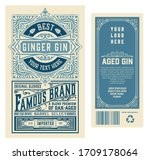 set of full vintage gin labels. ... | Shutterstock .eps vector #1709178064