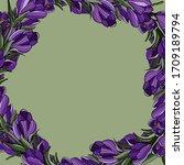 springtime floral frame. crocus ... | Shutterstock .eps vector #1709189794