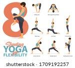 infographic of 8 standing yoga... | Shutterstock .eps vector #1709192257