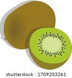 kiwi fruit and sliced kiwi...   Shutterstock .eps vector #1709203261