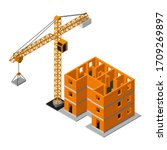 isometric construction site... | Shutterstock .eps vector #1709269897