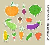 set of hand drawn vegetables ... | Shutterstock .eps vector #170928191