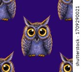 Cute Owls Isolated On Blue...
