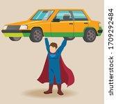 superhero cartoon sports... | Shutterstock .eps vector #1709292484