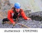 male climber ascends vertical... | Shutterstock . vector #170929481