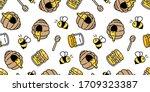 honey bee seamless pattern jam...