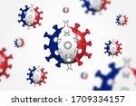 covid 19 . 3d floating corona... | Shutterstock .eps vector #1709334157