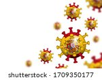 covid 19 . 3d floating corona... | Shutterstock .eps vector #1709350177