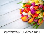 Colorful Bouquet Of Tulips On...