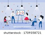 team thinking and brainstorming....   Shutterstock .eps vector #1709358721